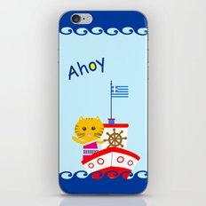 Greek Cat on Sail iPhone & iPod Skin