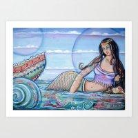 Mermaid and Water Nymph Art Print