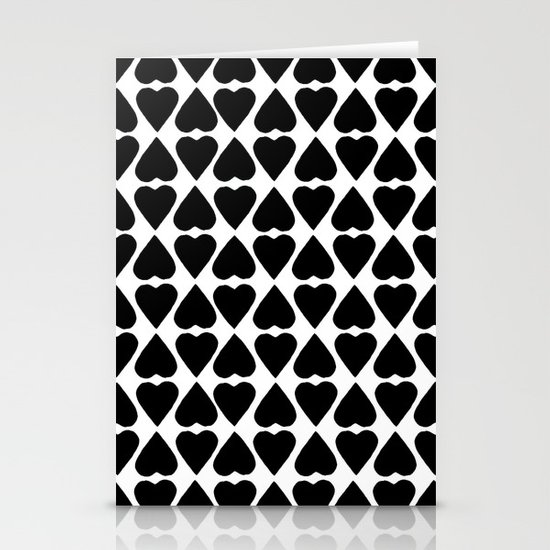 Diamond Hearts Repeat Black Stationery Card