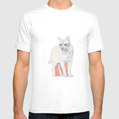 Cat 01 White SMALL Mens Fitted Tee