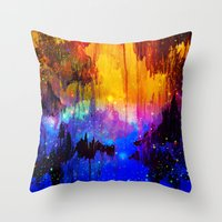 CASTLES IN THE MIST Magical Abstract Acrylic Painting Mixed Media Fantasy Cosmic Colorful Galaxy  Throw Pillow