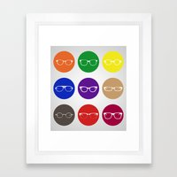 9 Glasses Styles Framed Art Print
