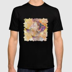 profile woman and flowers Mens Fitted Tee Black SMALL