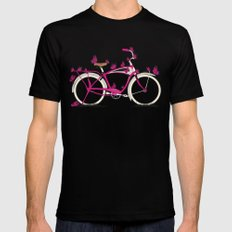 Butterfly Bicycle Mens Fitted Tee Black SMALL