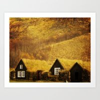 Turf Houses Of Iceland Art Print