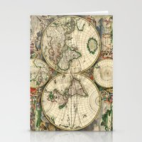Old Map Of World Hemisph… Stationery Cards