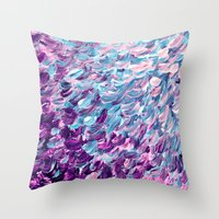 FROSTED FEATHERS 1 Colorful Lavender Purple Lilac Serenity Rose Quartz Ombre Ocean Splash Abstract Throw Pillow