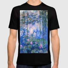 Water Lilies Monet Mens Fitted Tee Black SMALL