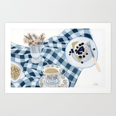 Still life with blueberry pie Art Print
