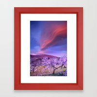 Lenticular clouds over Sierra Nevada and almonds Framed Art Print