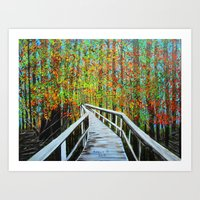 Walkway  In The Woods  Art Print