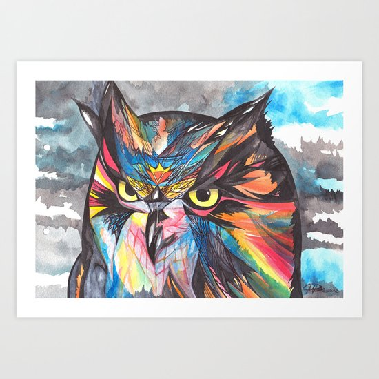 Kitchen Window Uptown Coffee Festival 2016: Whimsical Owl Art Print By Snowmarite