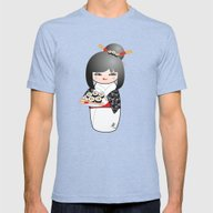 Kokeshi Sushi Mens Fitted Tee Tri-Blue SMALL