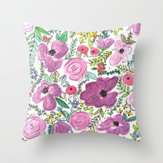 Purple Floral Design - Watercolor Painting  Throw Pillow