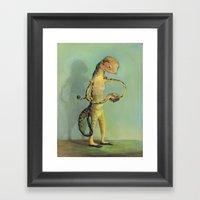 Lizard With Sandwich Framed Art Print