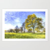 Summer Farm Trees Art Art Print