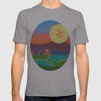 Sunset Mountains Mens Fitted Tee Athletic Grey SMALL