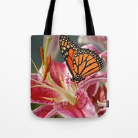 Monarch Butterfly on a Stargazer Lily Tote Bag