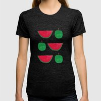 Watermelon & Apple Womens Fitted Tee Tri-Black SMALL
