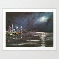 Moonlit City Art Print