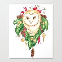 Winter Woodland Magic Owl Canvas Print