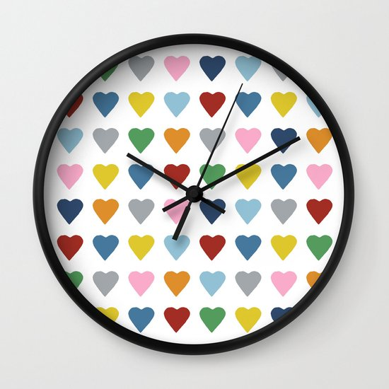 64 Hearts Wall Clock