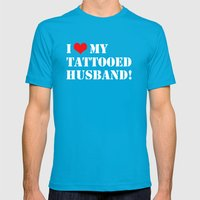Tattooed Husband Mens Fitted Tee Teal SMALL