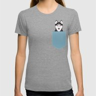 Shiloh - Husky Siberian … Womens Fitted Tee Tri-Grey SMALL