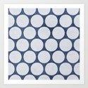blue and white polka dots Art Print