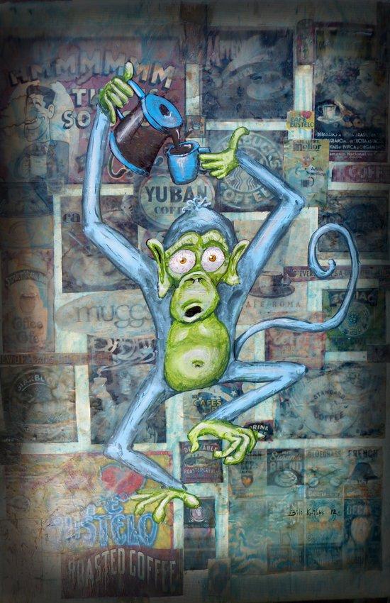 Rebecca's Coffee Drinking Monkey Canvas Print
