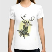 Deer Head Womens Fitted Tee White SMALL