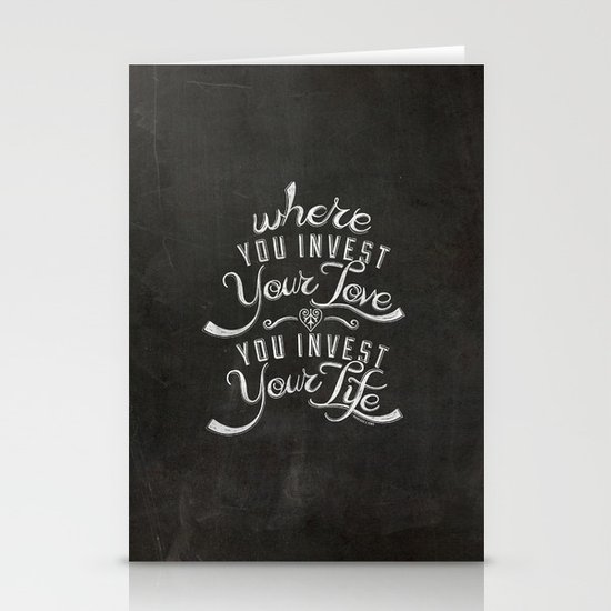 LYRICS - Where you Invest Your Love Stationery Card