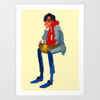wes anderson Art Prints featuring peter whitman (wes anderson) by Lindsay Pak