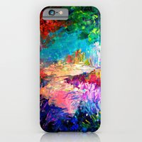 iPhone Cases featuring WELCOME TO UTOPIA Bold Rainbow Multicolor Abstract Painting Forest Nature Whimsical Fantasy Fine Art by EbiEmporium