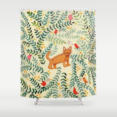 minou jaune (this yellow cat) Shower Curtain