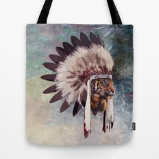 Tiger in war bonnet Tote Bag