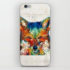 Colorful Fox Art - Foxi - By Sharon Cummings iPhone & iPod Skin
