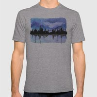 London Skyline 2 Blue Mens Fitted Tee Athletic Grey SMALL