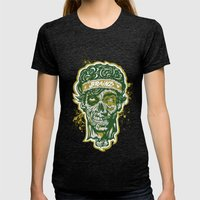 Brainz Zombie Print Womens Fitted Tee Tri-Black SMALL