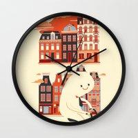 Happy Ghost Biking Through Amsterdam Wall Clock