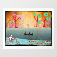 Row Boating to Monster Island Art Print