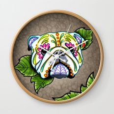 Day of the Dead English Bulldog Sugar Skull Dog Wall Clock