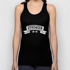 Stronger Every Day (dumbbell, black & white) Unisex Tank Top