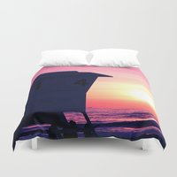 Mission Beach Sunset Duvet Cover