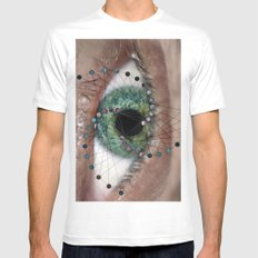 The Geometric Eye White SMALL Mens Fitted Tee