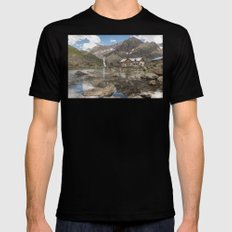 House on the Water in the Mountains  Mens Fitted Tee Black SMALL