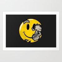 Smiley Face Skull Art Print