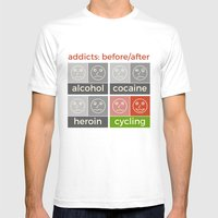 Cycling Addicts Mens Fitted Tee White SMALL