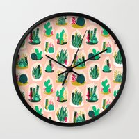 Terrariums - Cute little planters for succulents in repeat pattern by Andrea Lauren Wall Clock