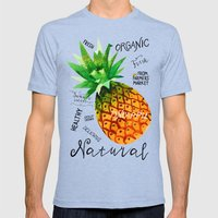 Watercolor pineapple Mens Fitted Tee Tri-Blue SMALL